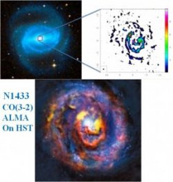 Figure 3 : The barred spiral galaxy NGC 1433, observed with ALMA in CO(3-2). The central black hole is an active nucleus (AGN) which expels some molecular gas, quenching the star formation.